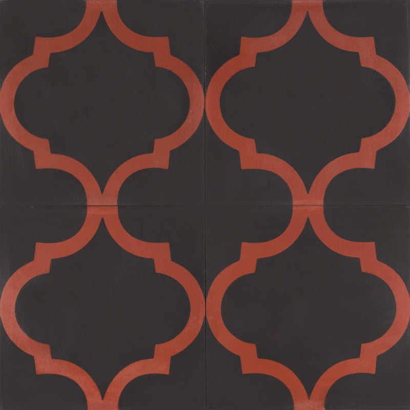 black tile with dark red design