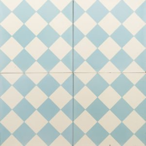 Blue and white checkered tile