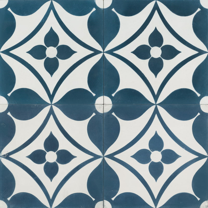 Navy blue tile with floral pattern