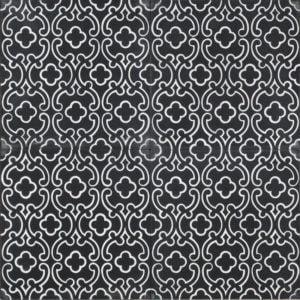 black tile with white design