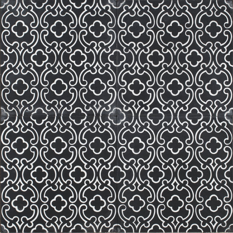black tile with white design