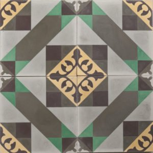 Grey and green patterned tile