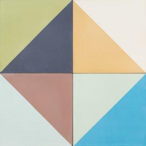 Multi-coloured tile in a diamond pattern