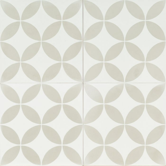 White tile with light grey petal pattern