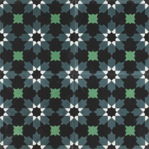 mosaic looking tile coloured by black, smokey blue and green