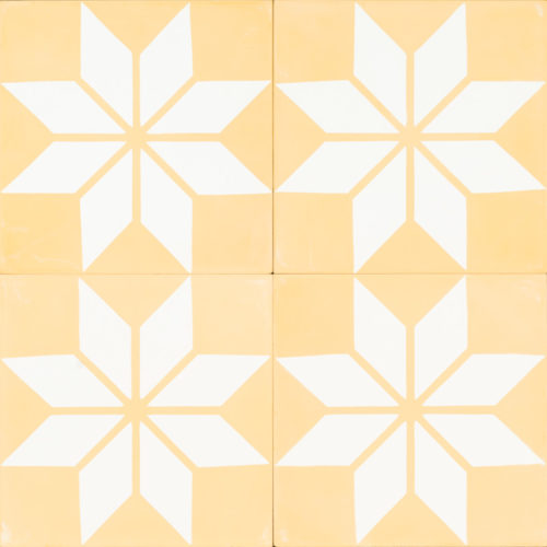 light yellow tile with white star shapes