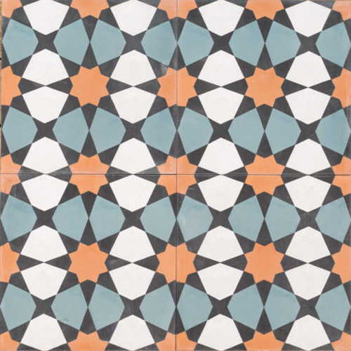 mosaic pattern with blue and orange