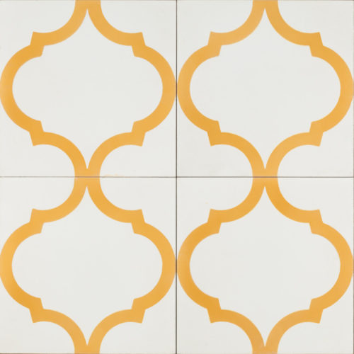 white tile with gold pattern
