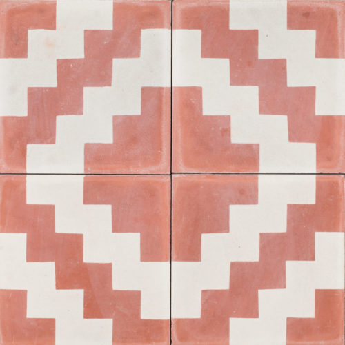 deep pink and white patterned tile