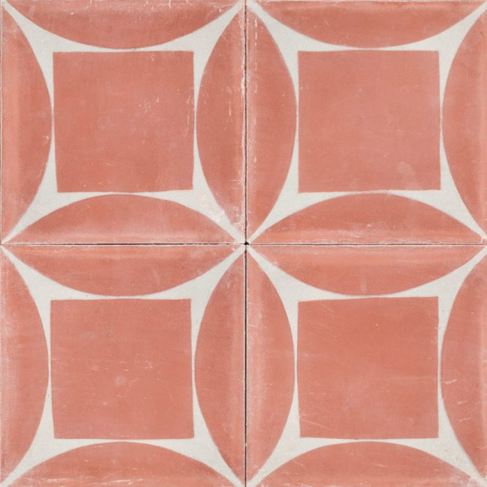 pink tile with white design