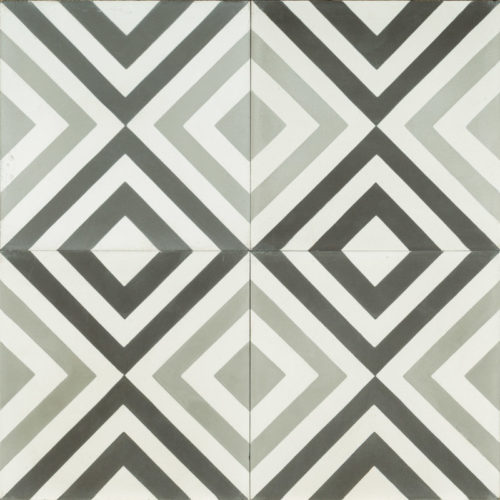 black grey and white tile with checkered diamond pattern