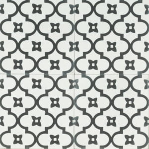 white tile with black chain-like design