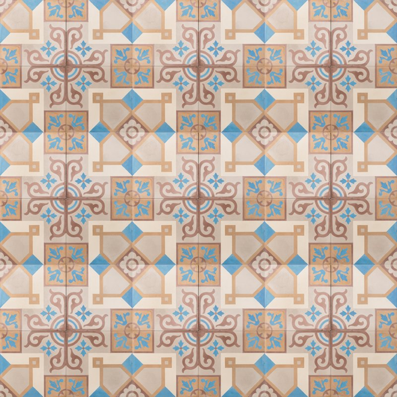 blue and brown patterned tile