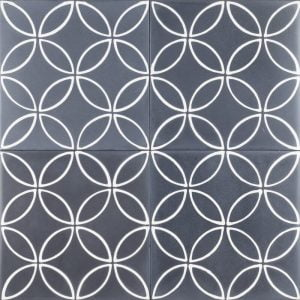 navy blue tile with petal pattern