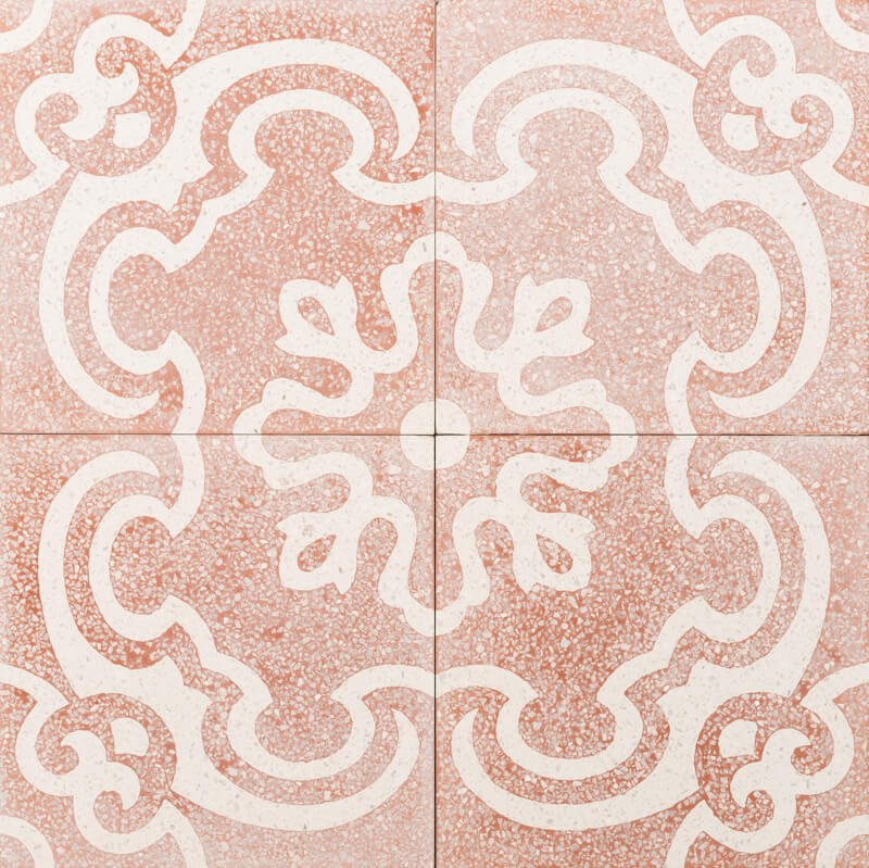 terrazzo pale pink and white flower pattern tile