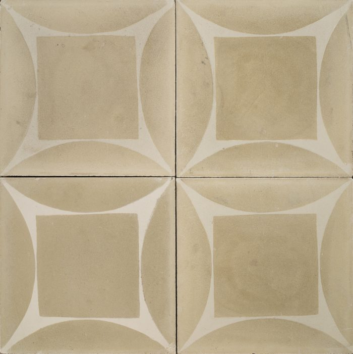 Cement brown tile with a white design