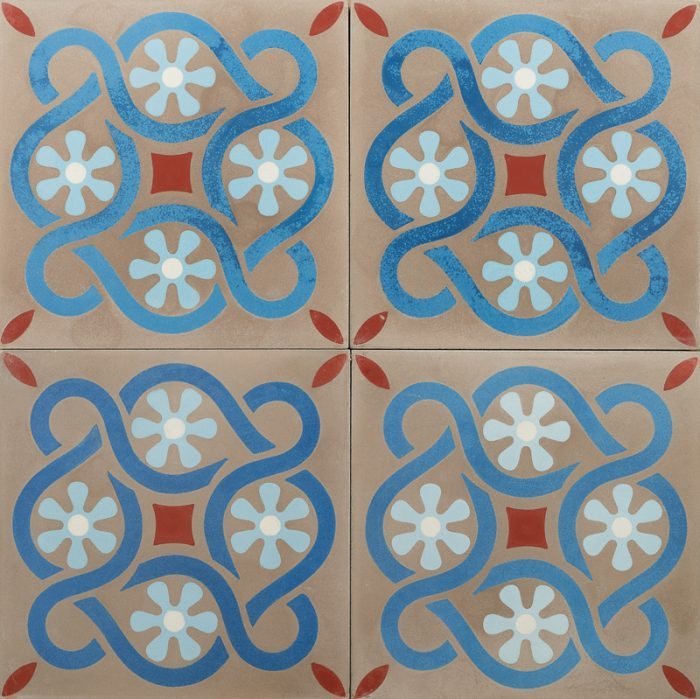 grey tile with blue pattern