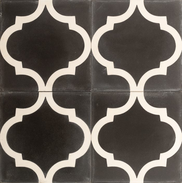 Black tile with white pattern