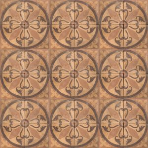 brown tile with decorative pattern