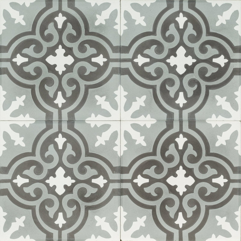 grey and black tile with a moroccan flower pattern