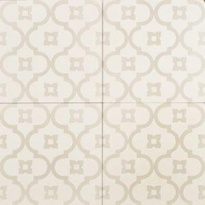 Light grey pattern on white tile