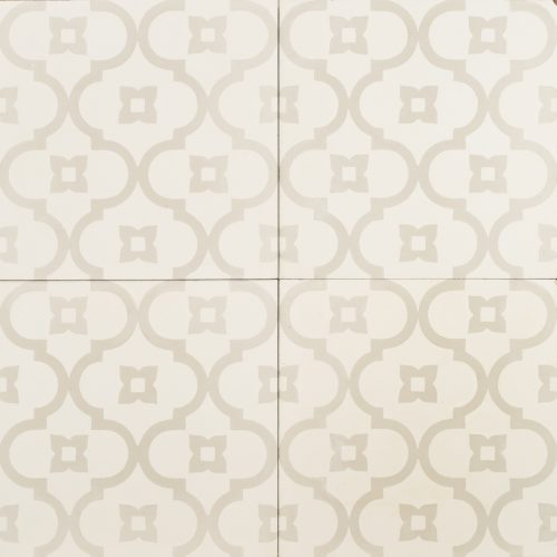 Light grey pattern on white tile