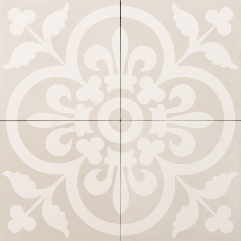 light grey and white tile with a flower/clover pattern and fout tiles make the pattern