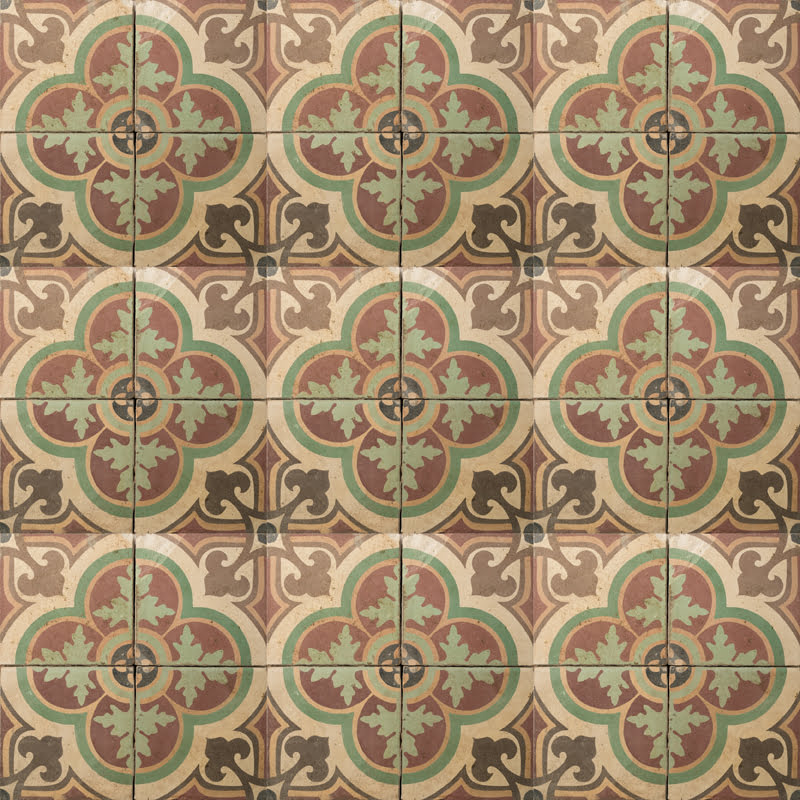 Brown and green clover patterned tile