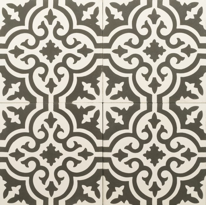 black and white patterned tile