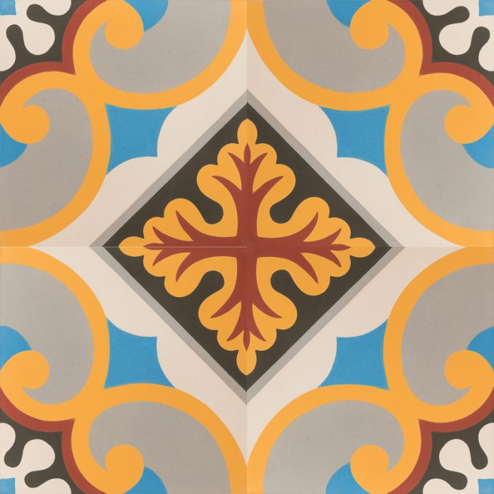 brightly coloured tile with vibrant pattern