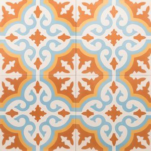 Orange and blue tile with a vibrant pattern