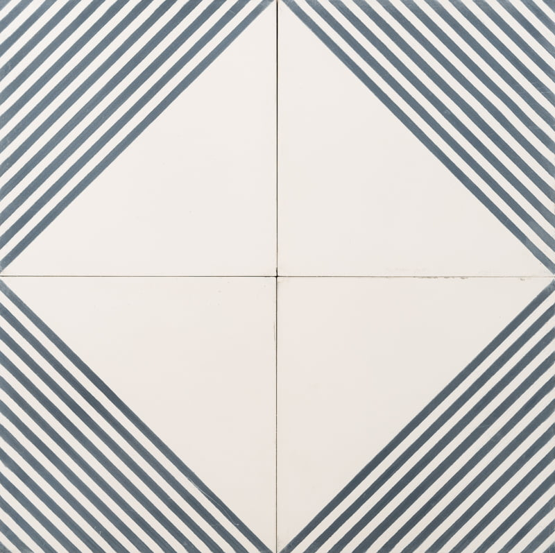 navy and white tile with navy lines forming a diamond pattern