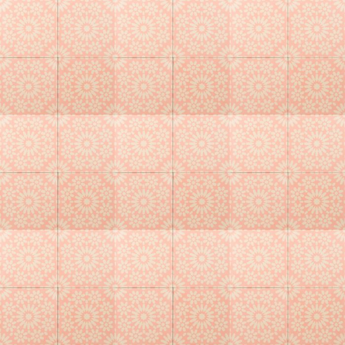 Bright pink tile with yellow design