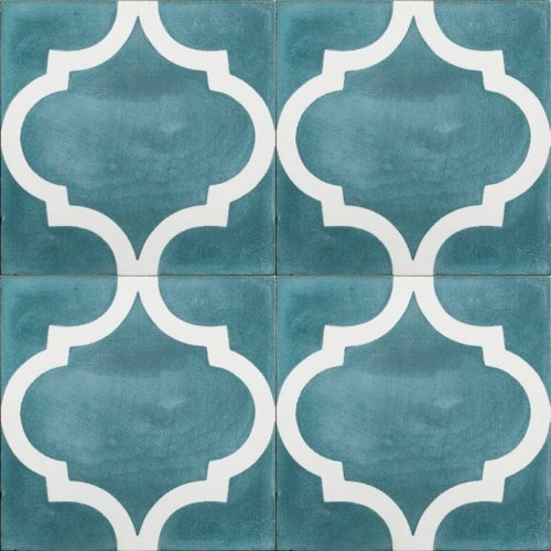 teal tile with white pattern