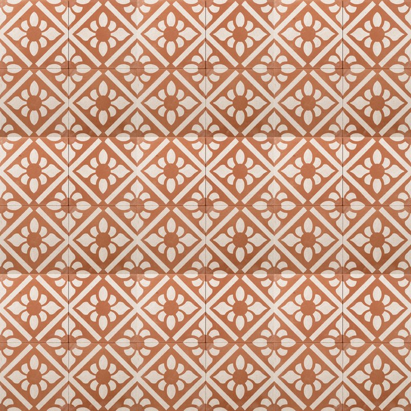 terracotta coloured tile with terrazzo effect and white lilies