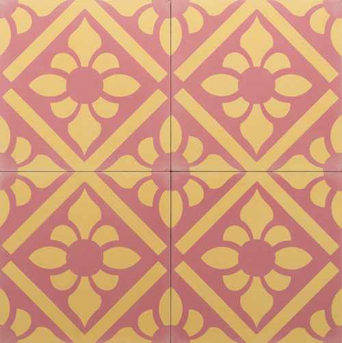 pink and yellow coloured tile with a lily pattern