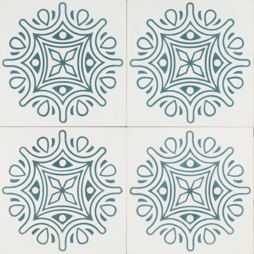 white maharani tile with a blue pattern