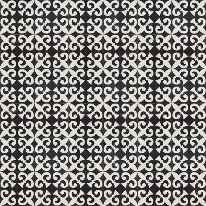 black tile with intricate white design