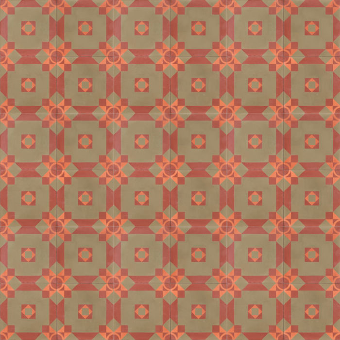 Olive green and terracotta red patterned tile