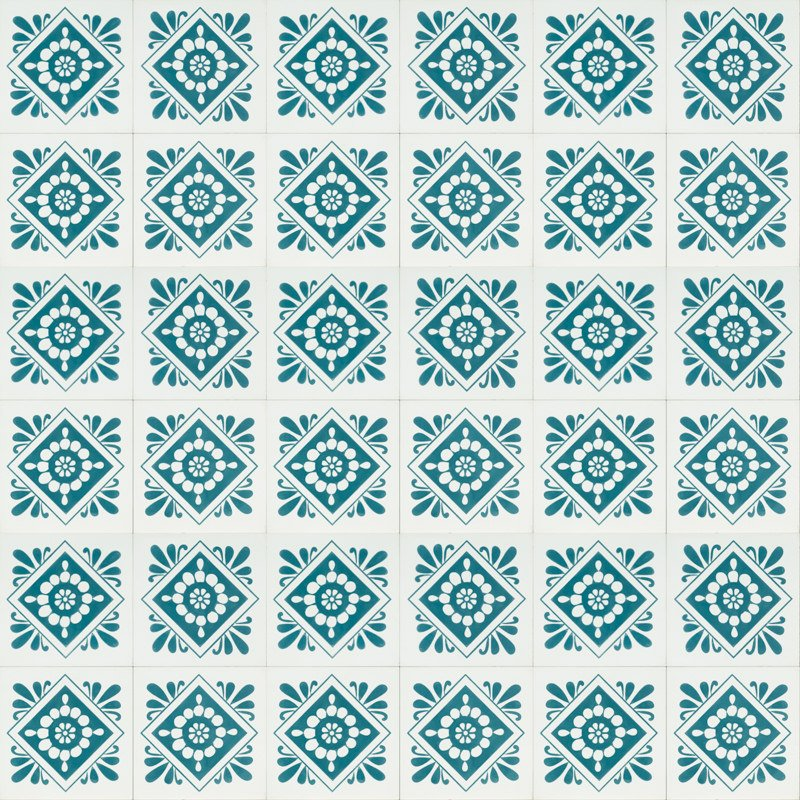 white tile with turquoise design