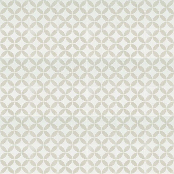 white tile with light grey petal pattern