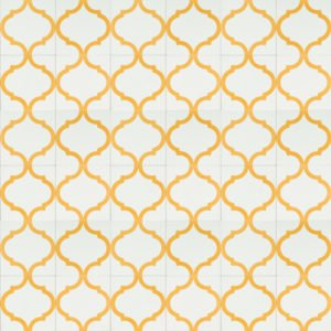 white tile with gold design
