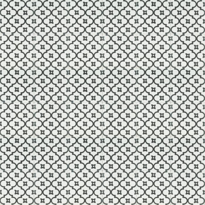 white tile with black chain-like pattern