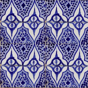 Moroccan handmade blue and white tile essaouira diamond