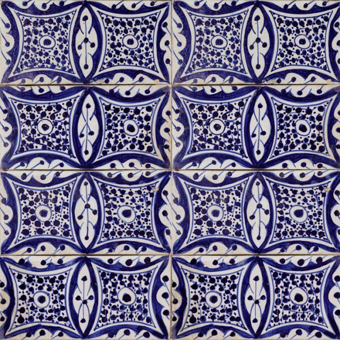 Moroccan handmade blue and white tile essaouira square