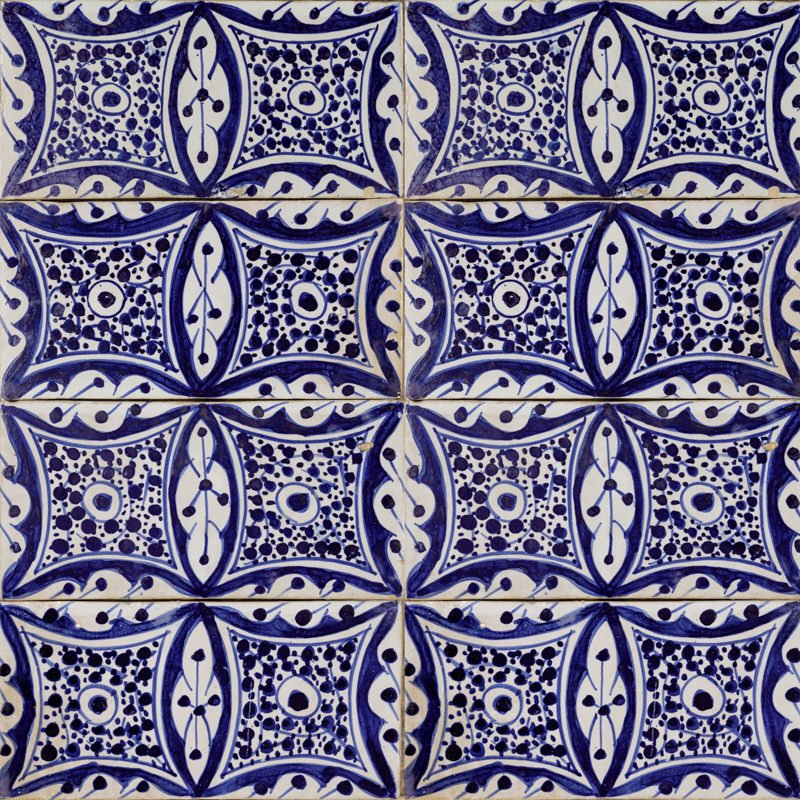 Moroccan handmade blue and white tile essaouira square