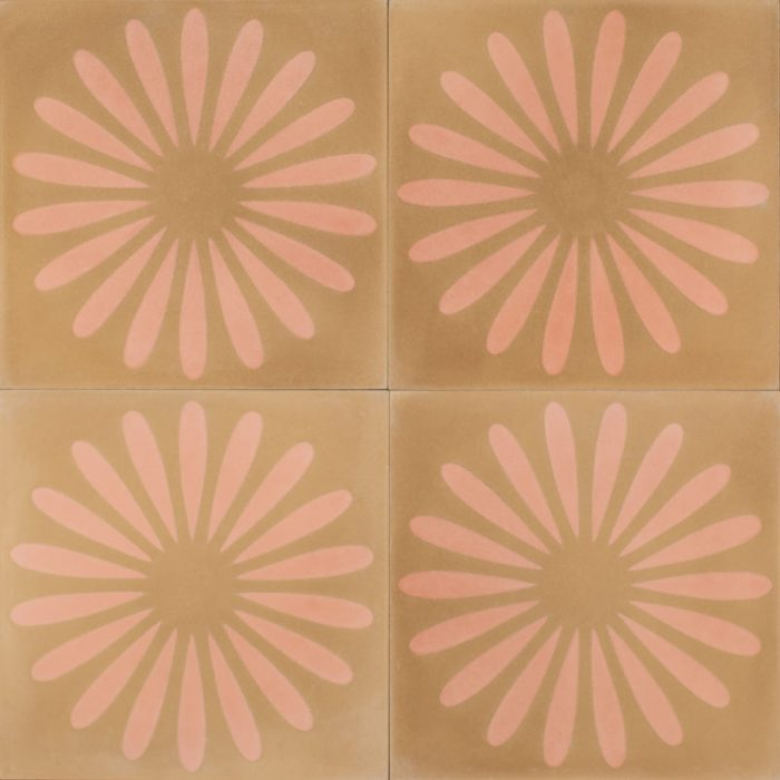 Blush flower tile brings joy to every space.