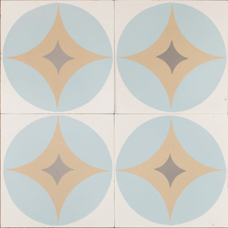 blue retro star tile