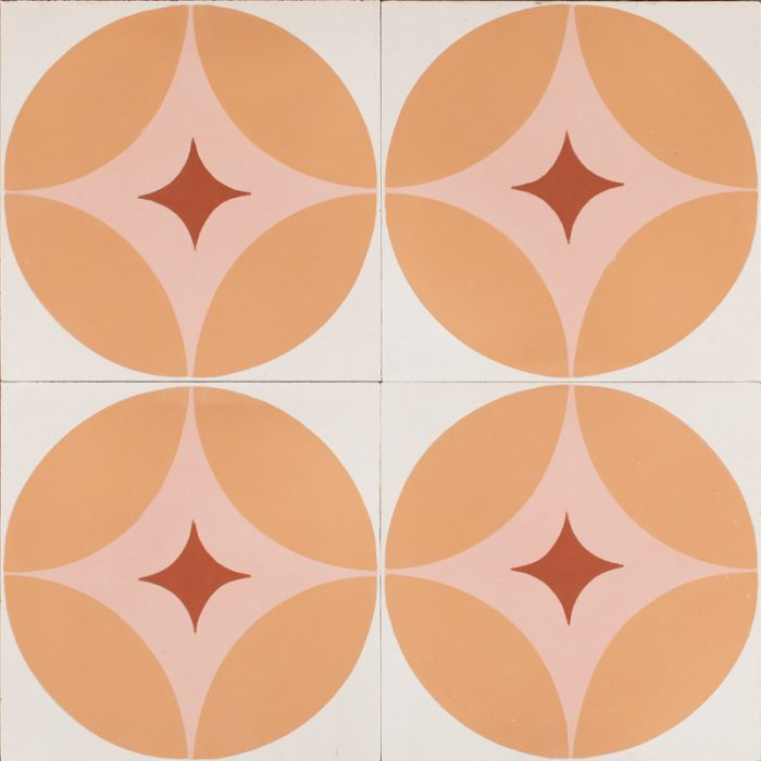 pink retro star tile