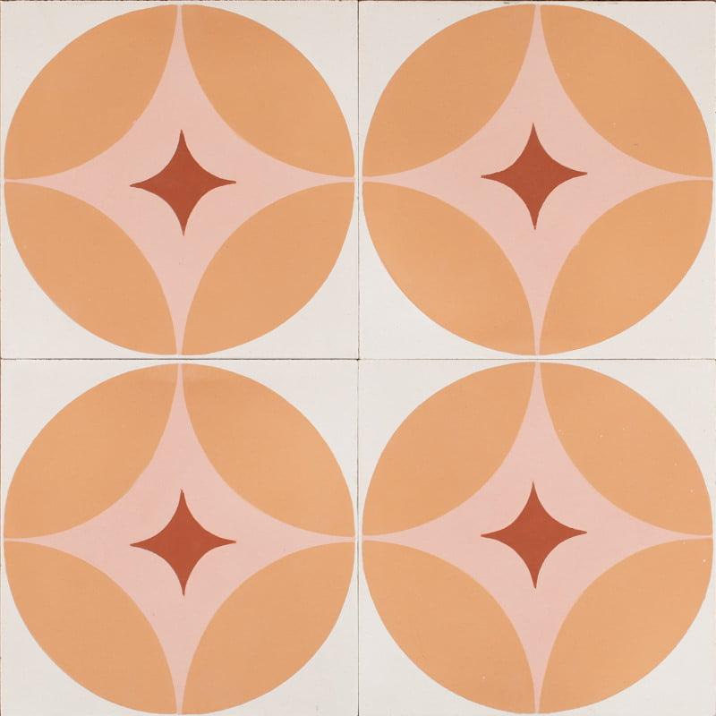 pink retro star tile